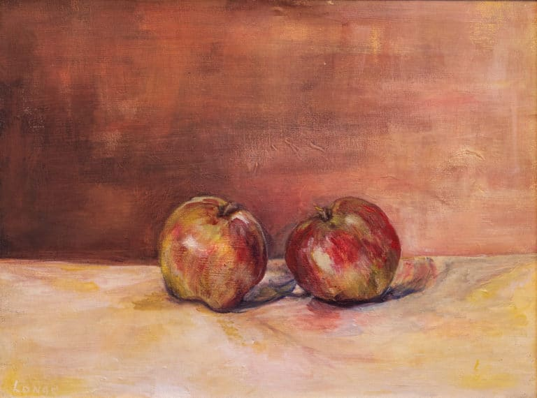 Photo of a painting where two apples are leaning towards each other on a yellow table against a mahogany wall.